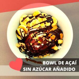 bowl de açai sin azúcares añadidos y peanut butter